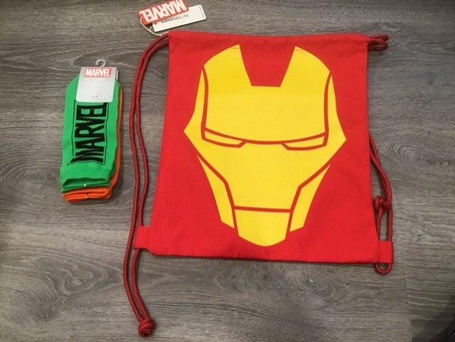 Iron Man Drawstring Bag & Marvel 2 Pair Low-Cut Socks New Condition