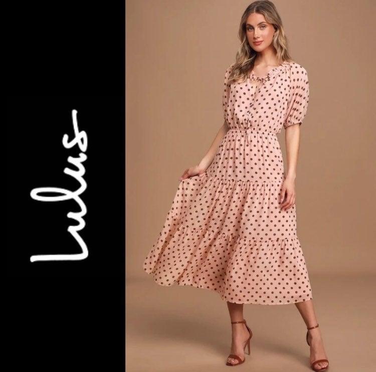 Blush Pink Polka Dot Tiered Midi Dress