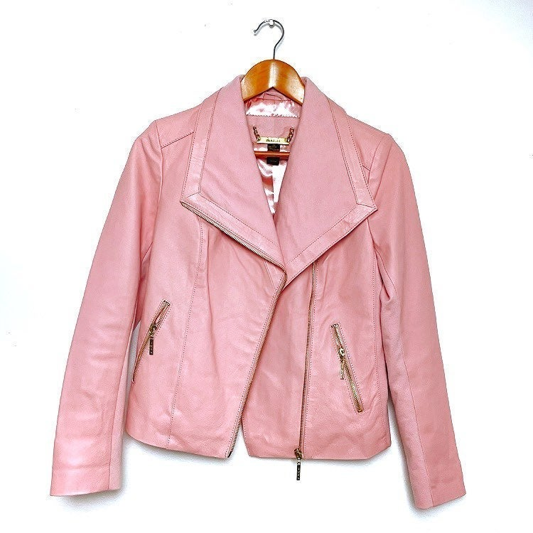 IMAN Platinum Buttery Soft Genuine Lamb Leather Jacket Lined Blush Pink 3X NWT