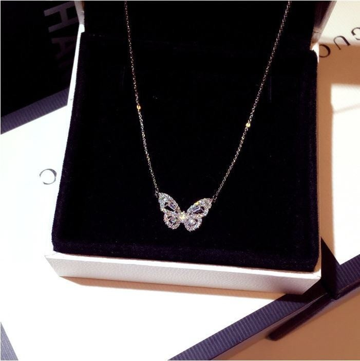 Silver Butterfly Crystal Necklace