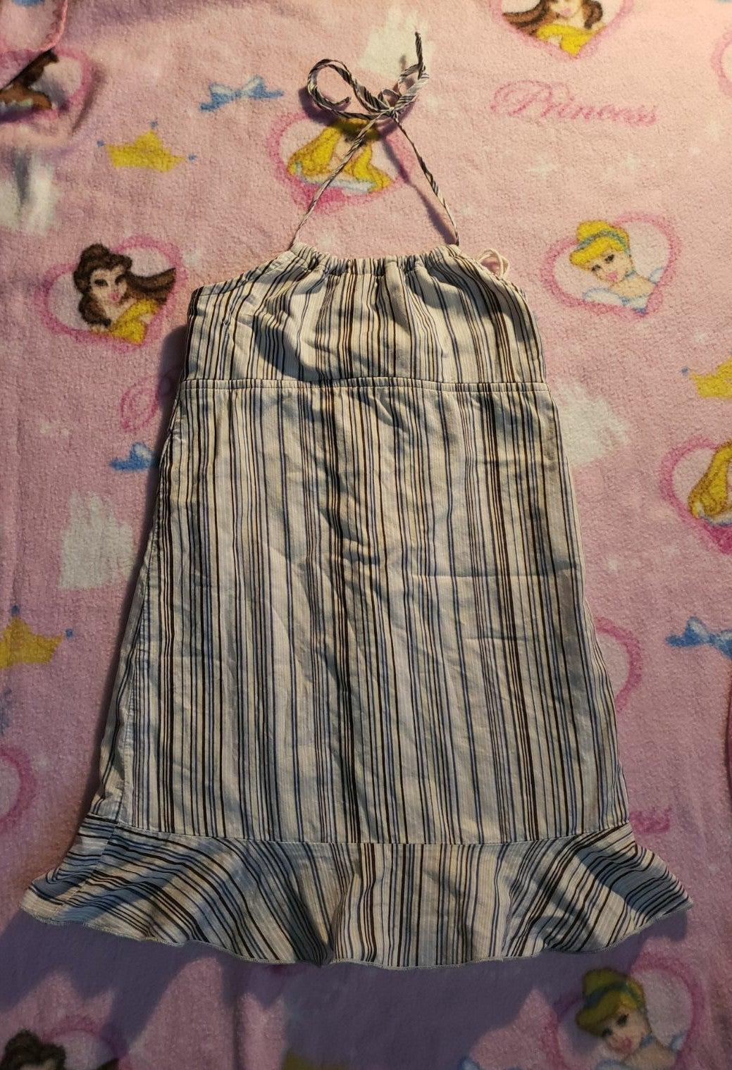 Girls XS sundress blue striped