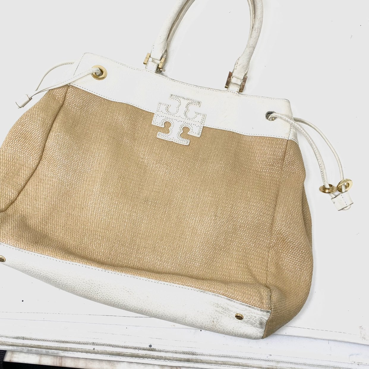 Tory Burch straw white leather tote