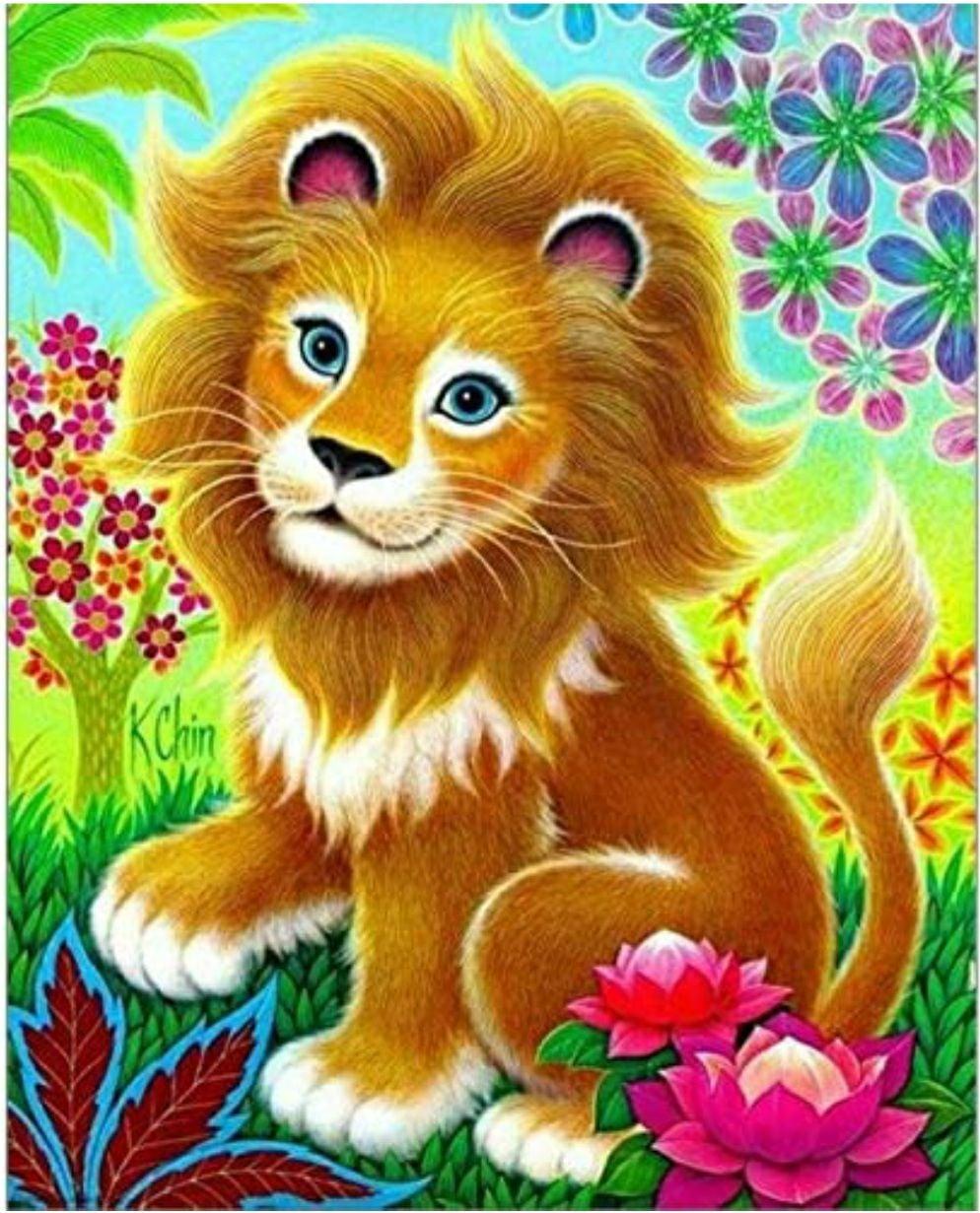 LION - ROUND  DIAMOND PAINTING KIT