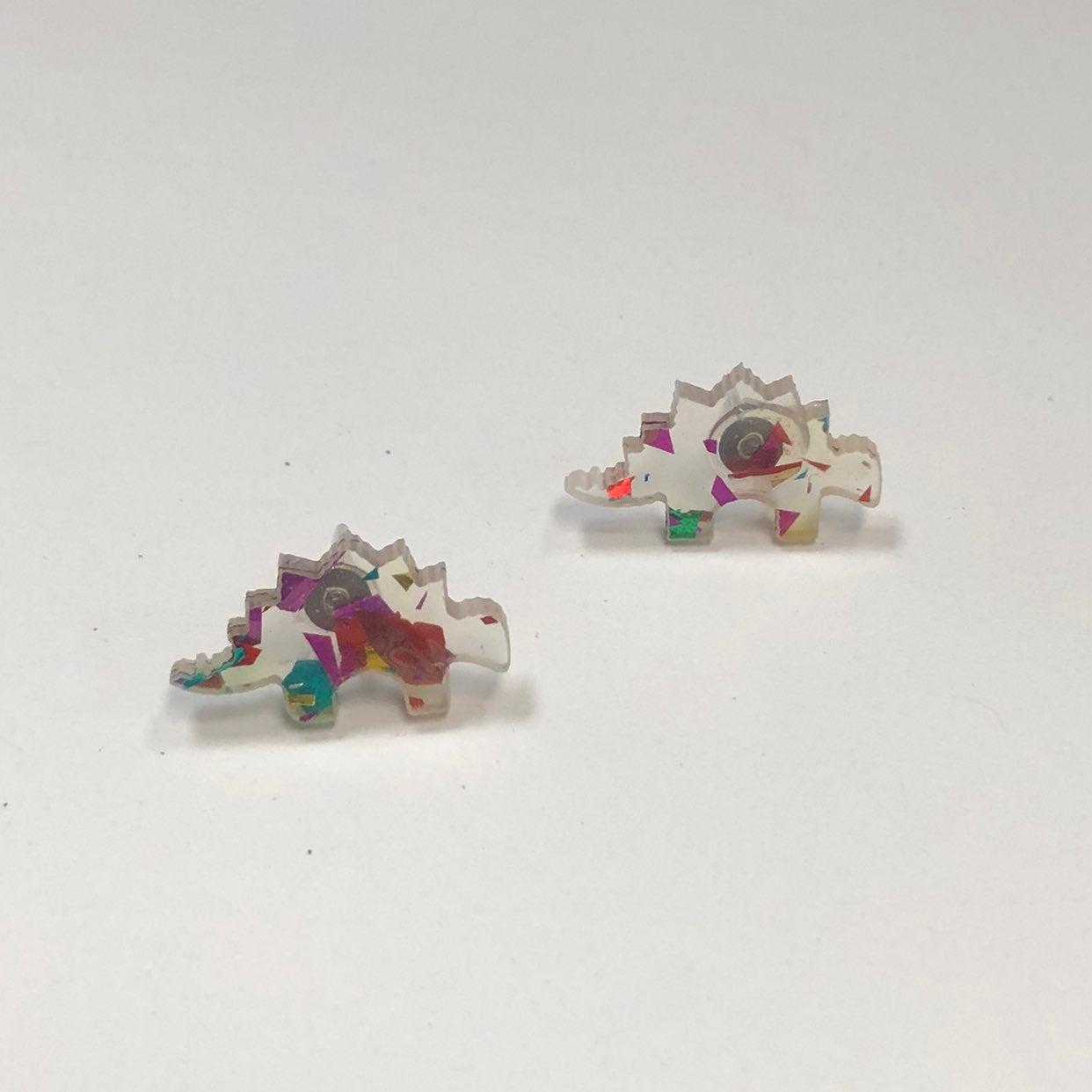 Dinosaur Confetti Stud Earrings