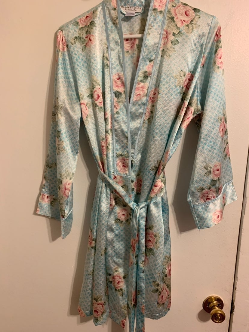 Beautiful Rose Accented Blue Robe