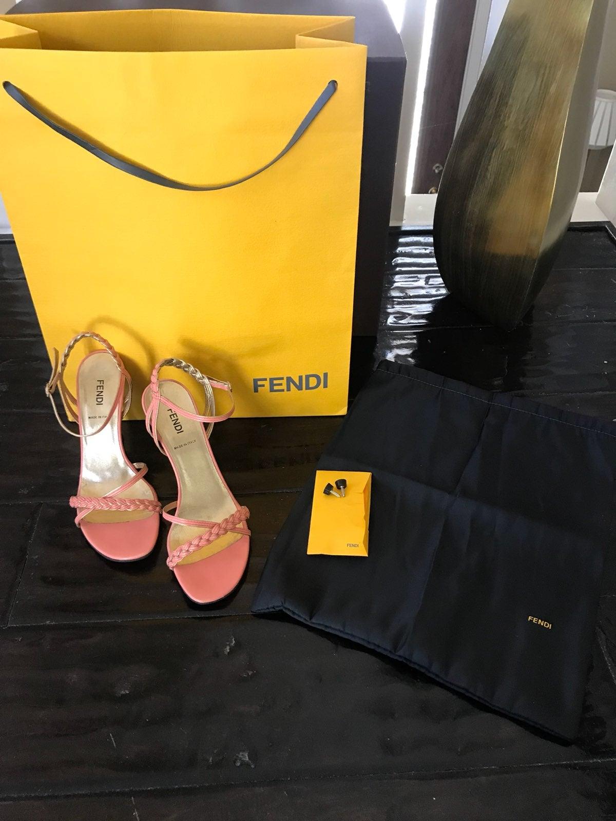 Fendi Braided Sandals Coral / Gold