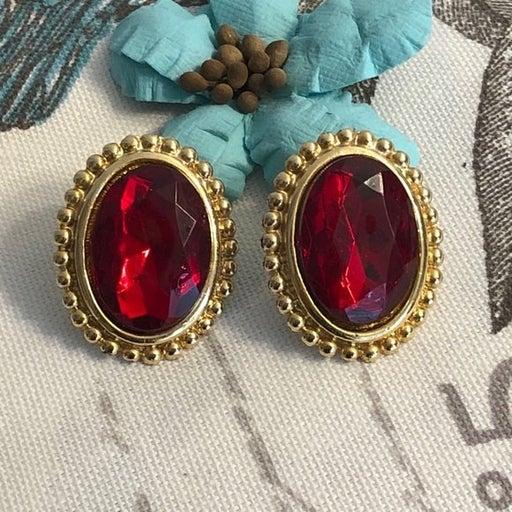Pierced Earrings Vintage Faux Ruby