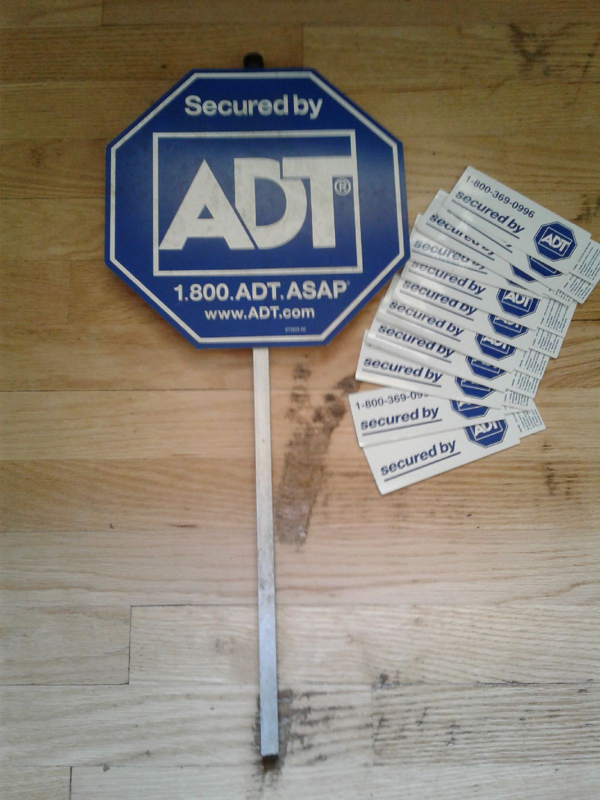 ADT yard sign with window decals.