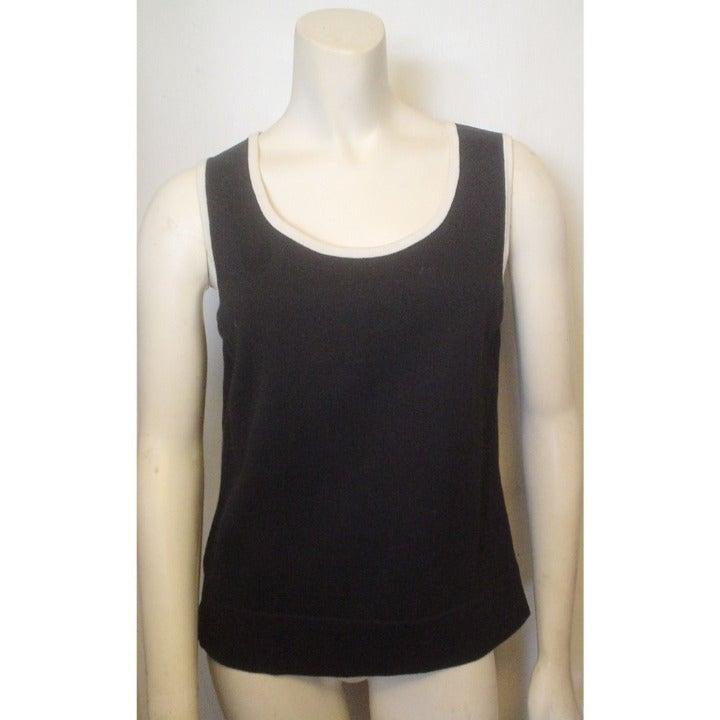 Jones NY Black Ivory Sweater Tank Top S