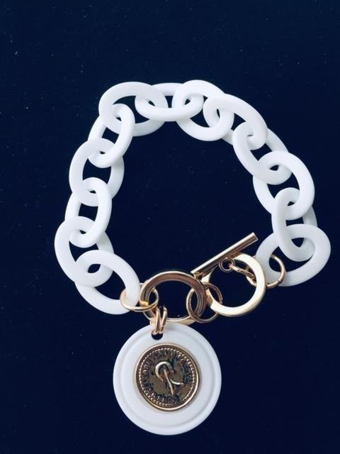 Charm Bracelet,  , White, Gold Accents