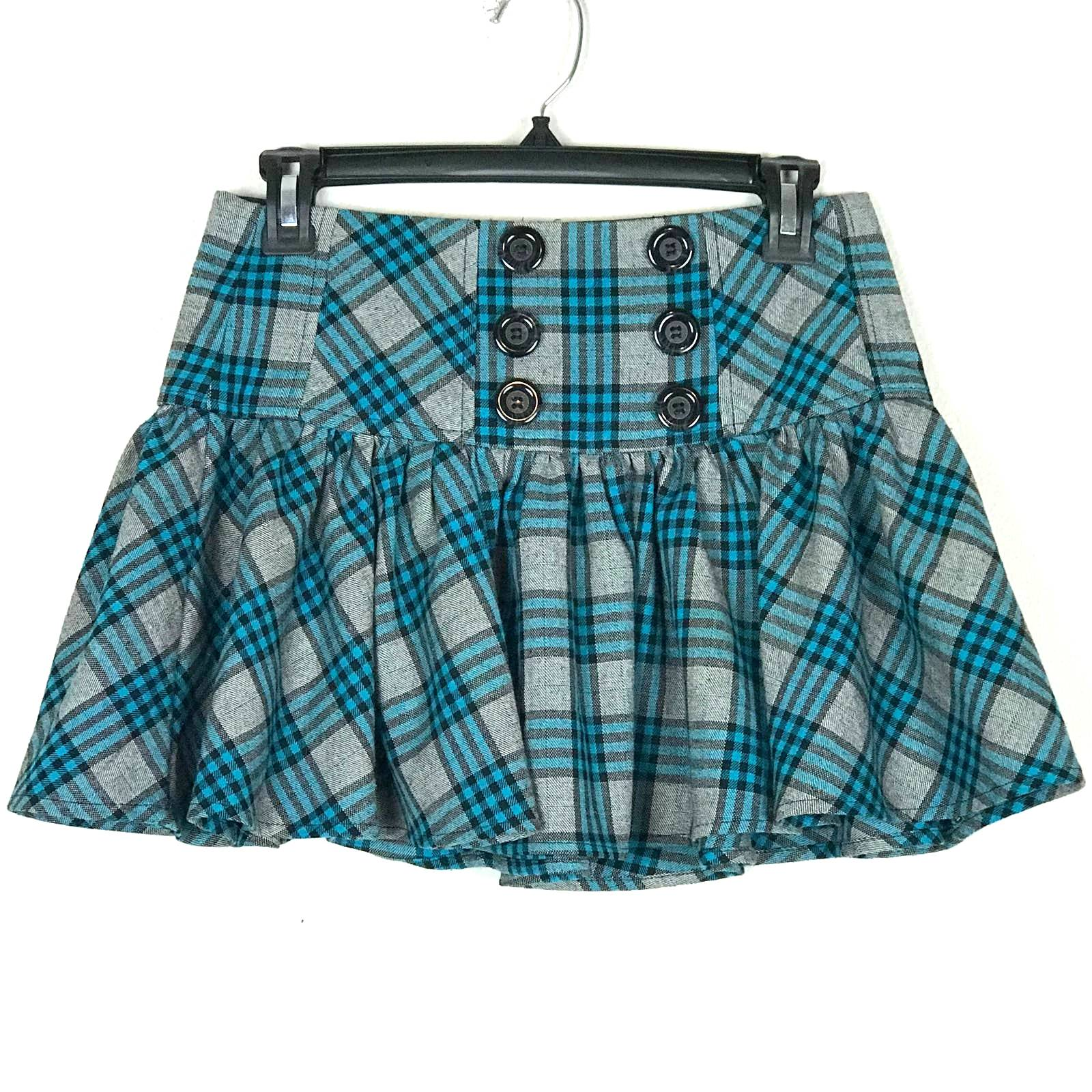 Candie's Plaid Lace Up Mini Skirt
