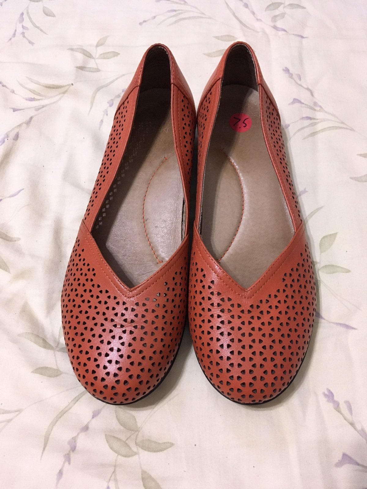 Burnt Orange Peroforated Leather Flats
