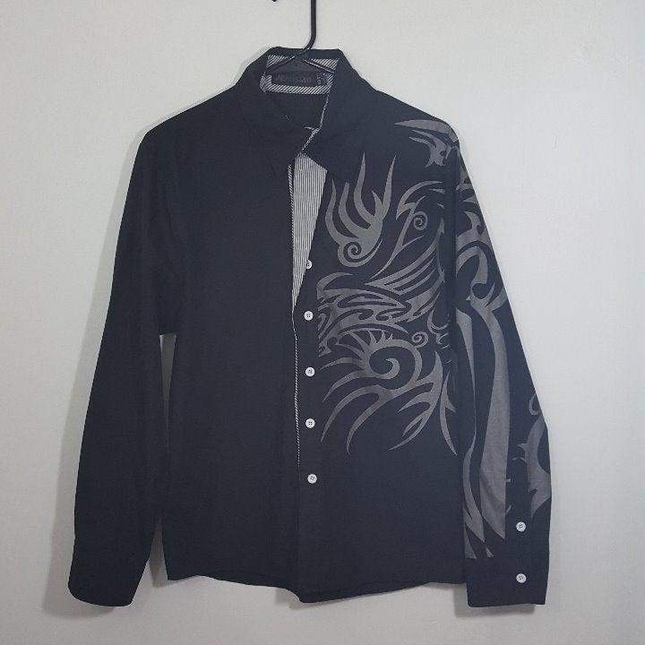 Jeansian Men's Unique Flip Cuff Shirt