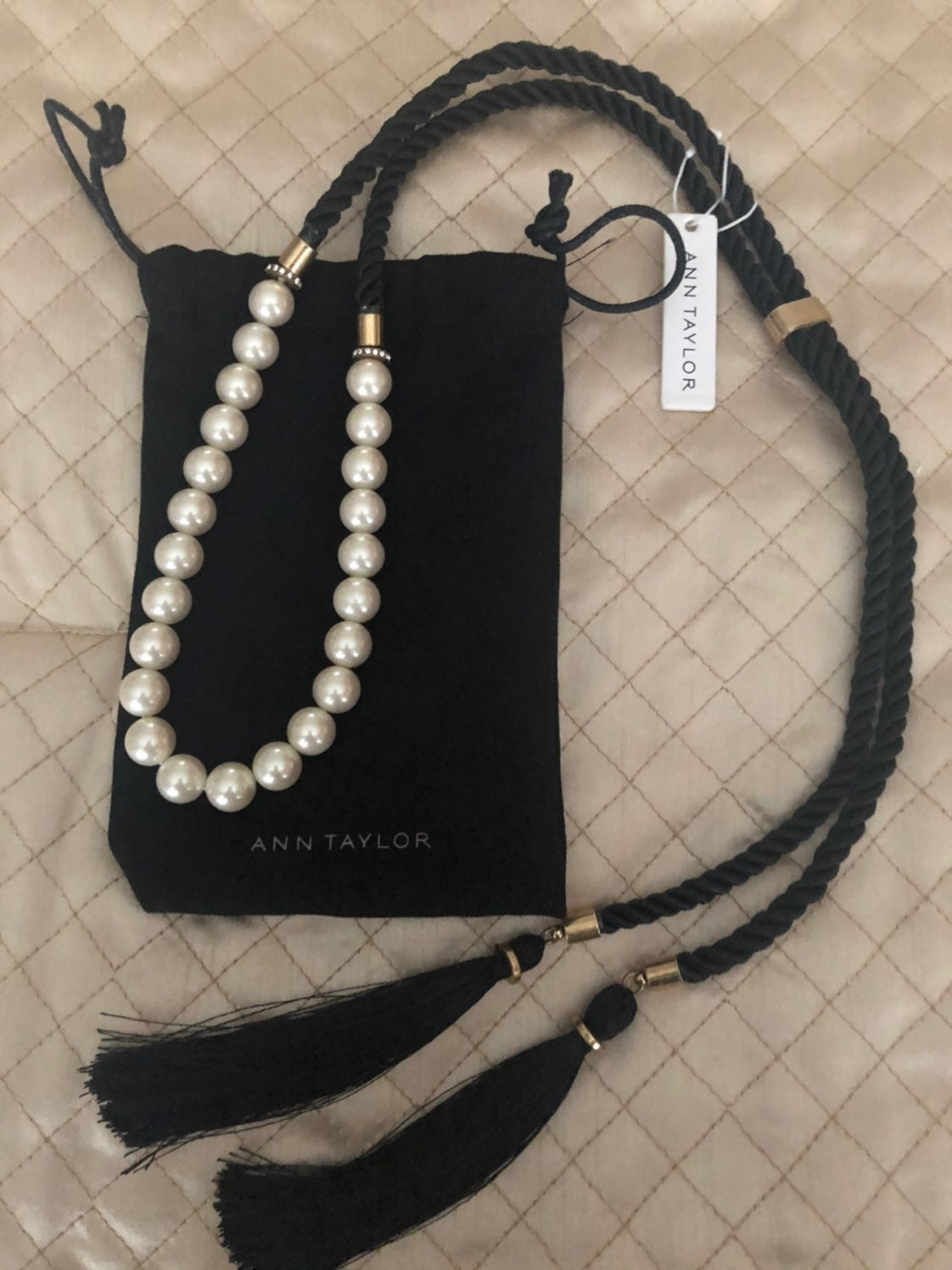 Ann Taylor Necklace of Pearls and Tassel