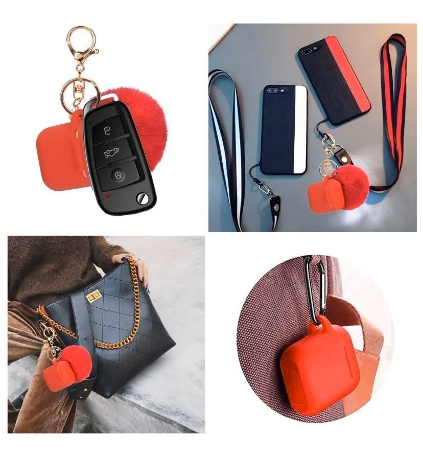 Red Airpod Case Fuzzy Ball KeyChain