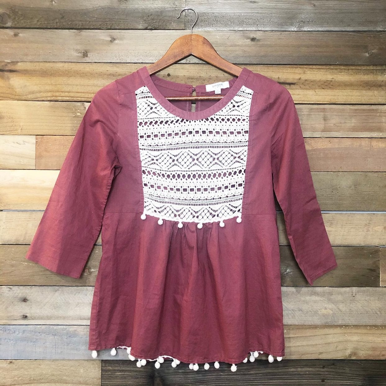 Umgee Rustic Red Crocheted PomPom Blouse