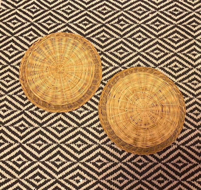 2 Wicker Rattan Paper Plate Holders Boho