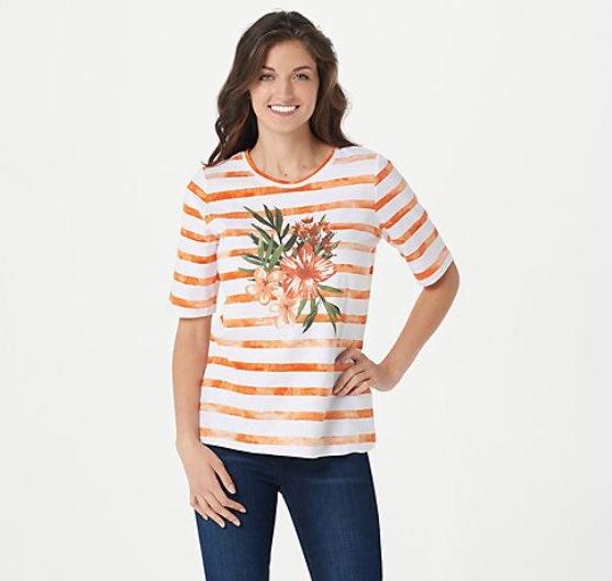 Denim & Co. orange stripe/floral top 1X