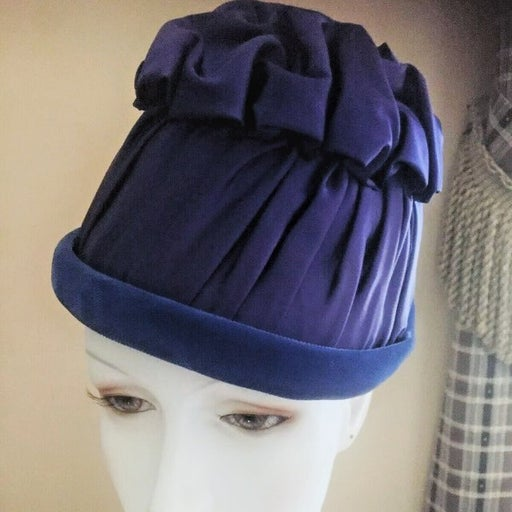 Vintage Beehive Blue Satin Hat (1950s)