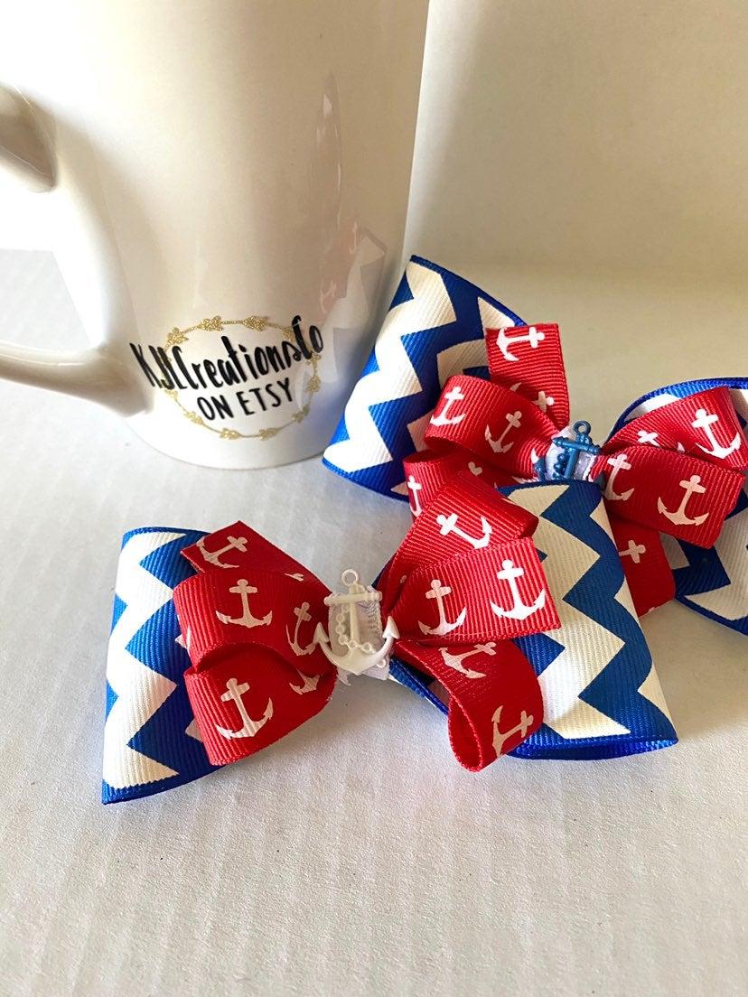 Patriotic Girls Bow Clips Chevron Anchor