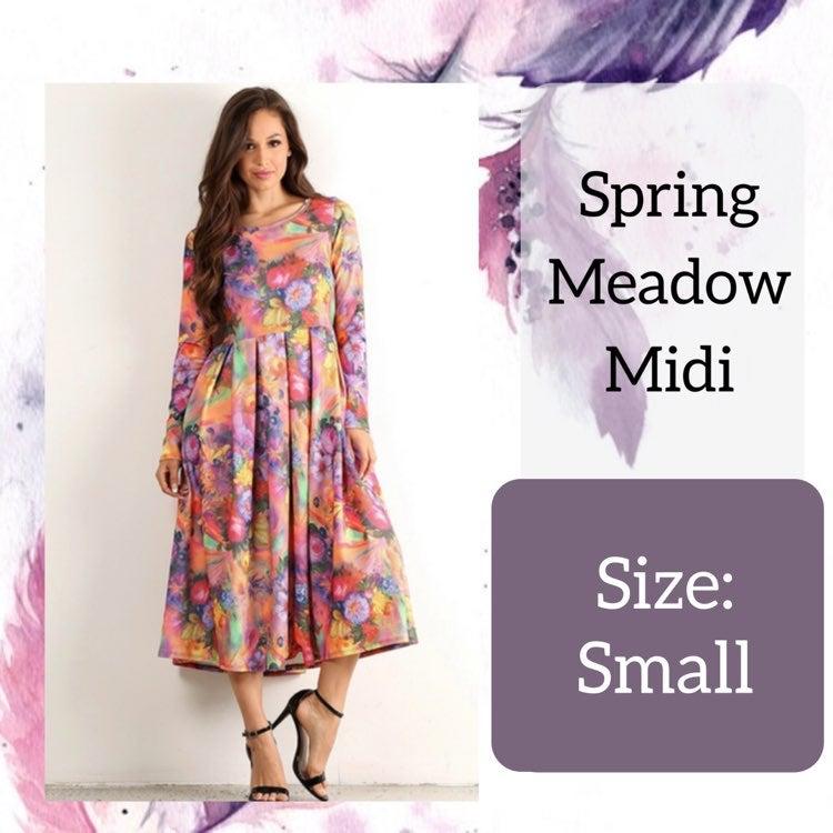 Small Colorful Floral Midi Dress