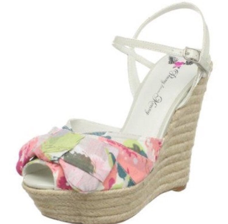 Floral Espadrille Bow Wedge Heels