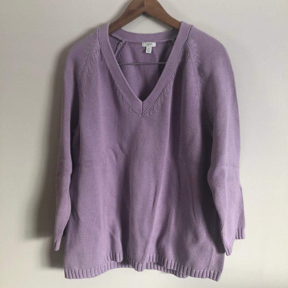 J. Jill   Purple V-Neck Knit Sweater