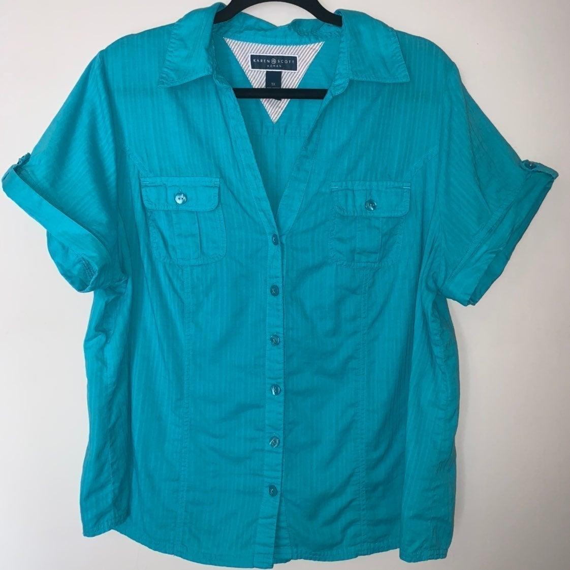 Karen Scott Woman 1X teal blouse