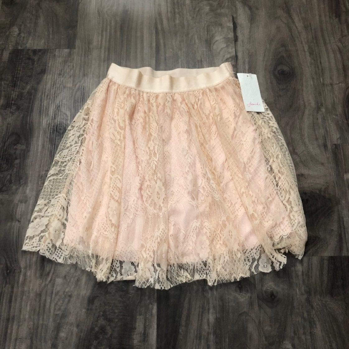 New Frenchi Pink Lace Skirt Soft Pink XS