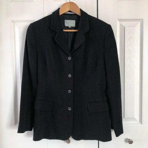 Jigsaw Buttoned Gray/Black Lined Blazer