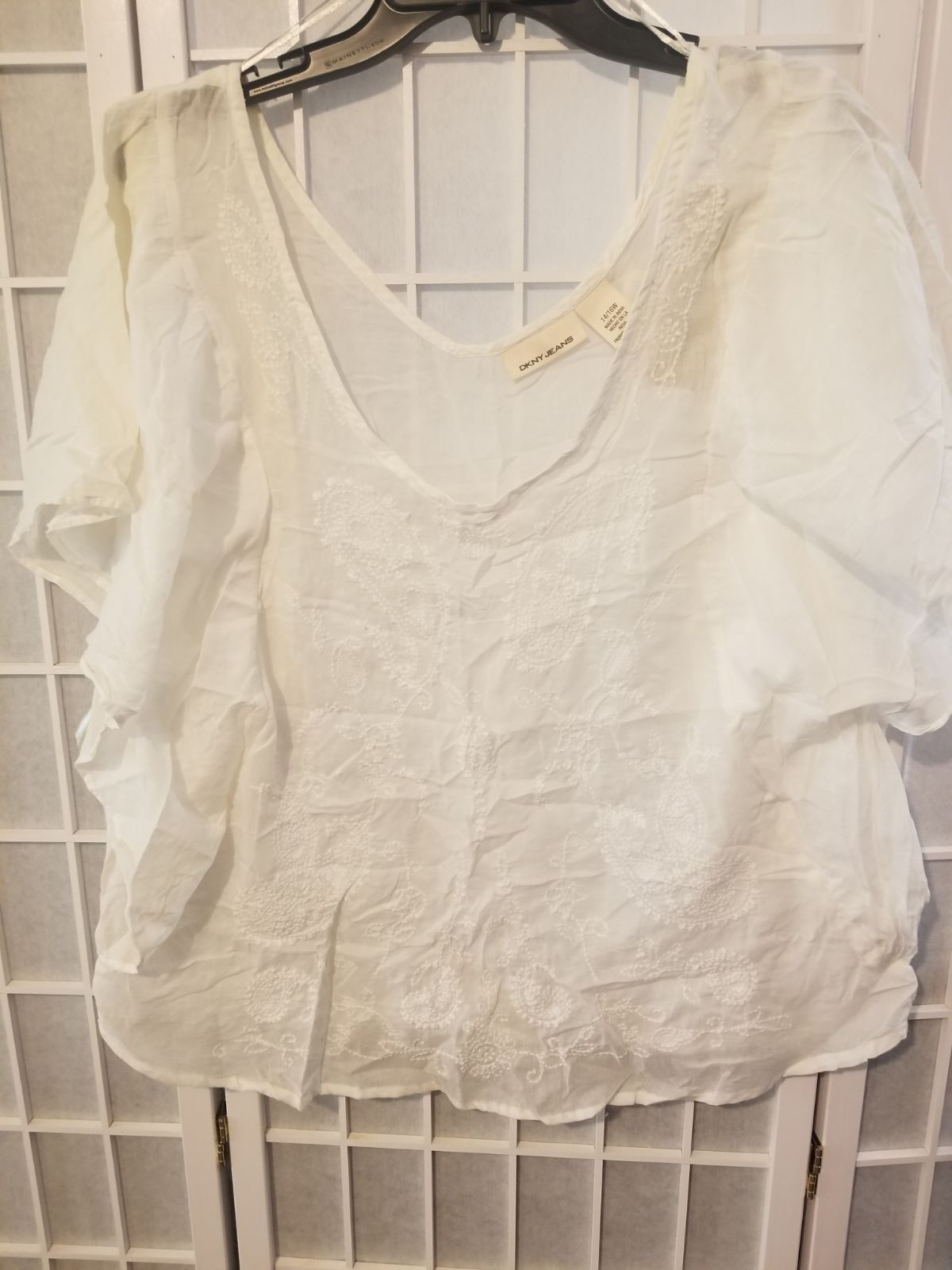 DKNY Jeans White Embroidered Top, 14/16