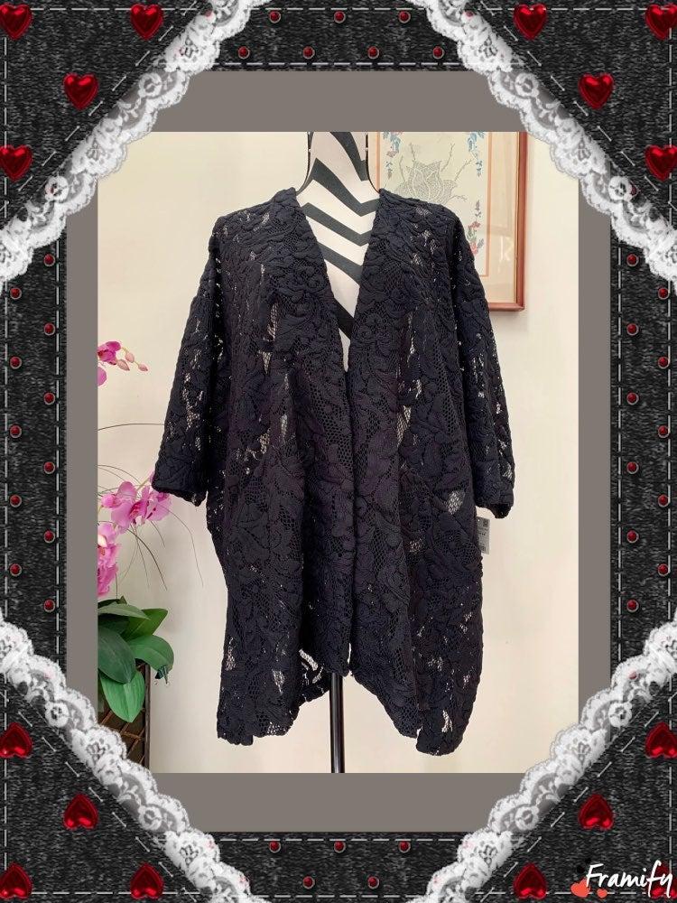 Zara Basic Open Front Lace Kimono Jacket