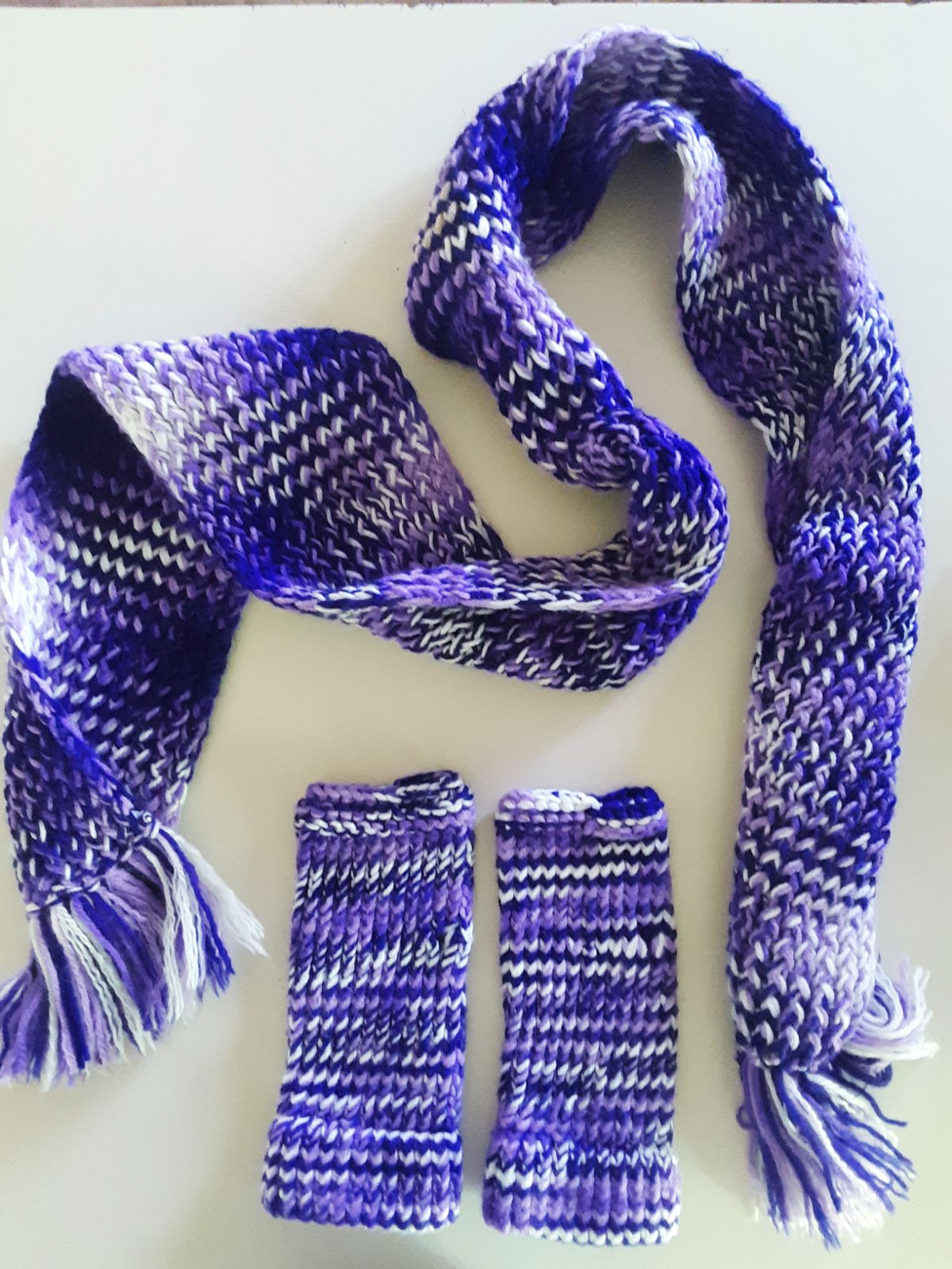 Handmade Purple Scarf Set