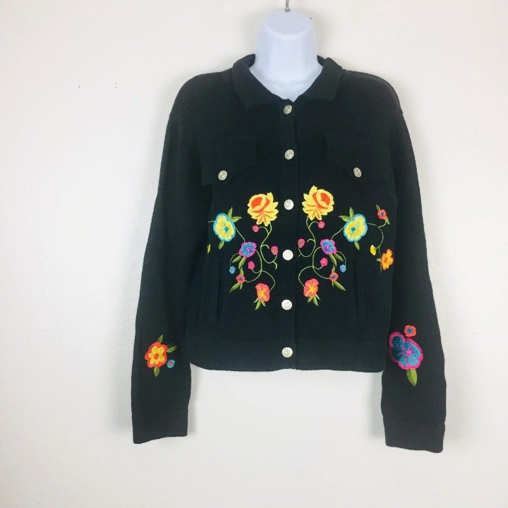 HN Cardigan Sweater Medium Embroidery