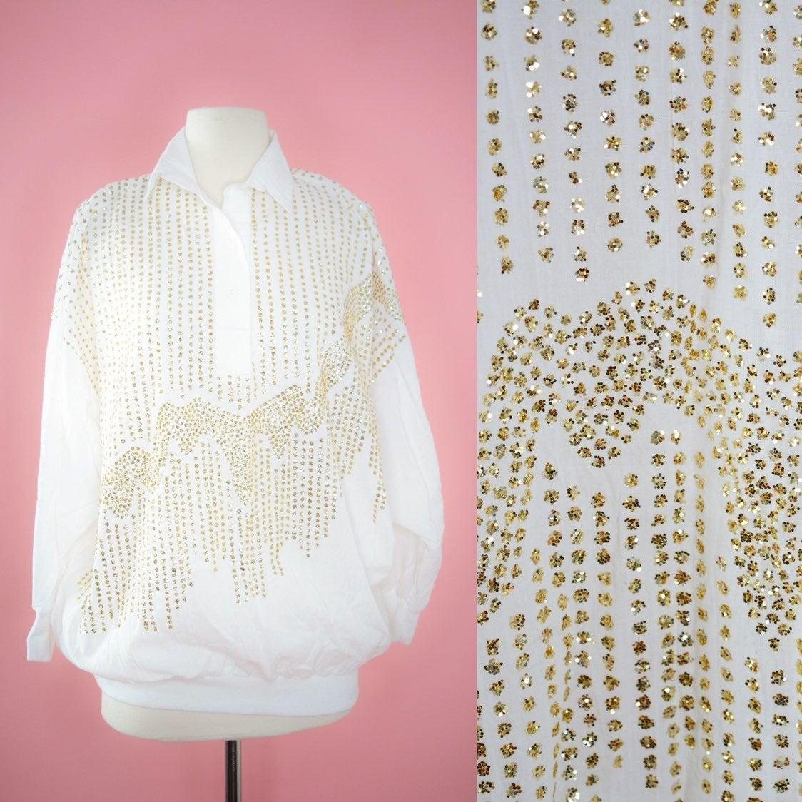 Vintage White & Gold Sparkle Top