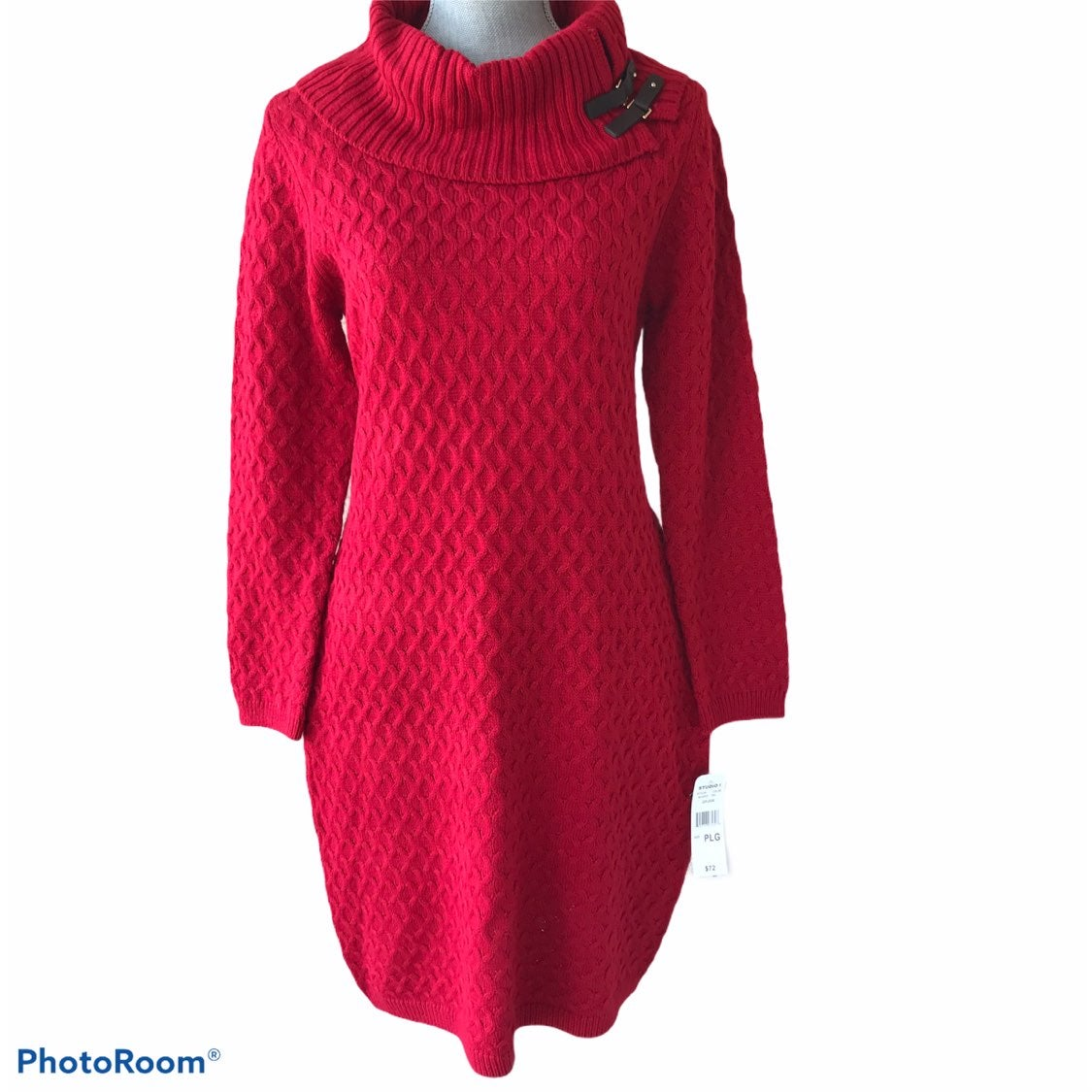 NWT Red Cowl Neck Sweater Dress PL
