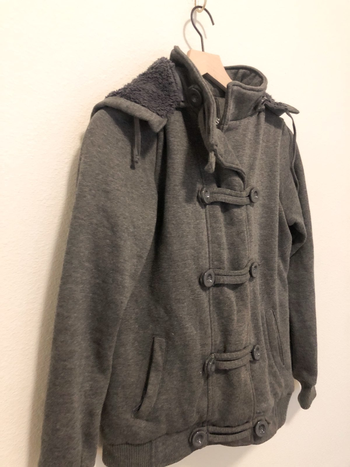 Gray Utility Jacket with Removable Hood