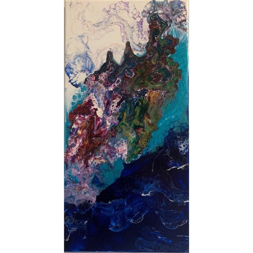 "Abstract ""Ocean Mood"" Acrylic Flow Paint"