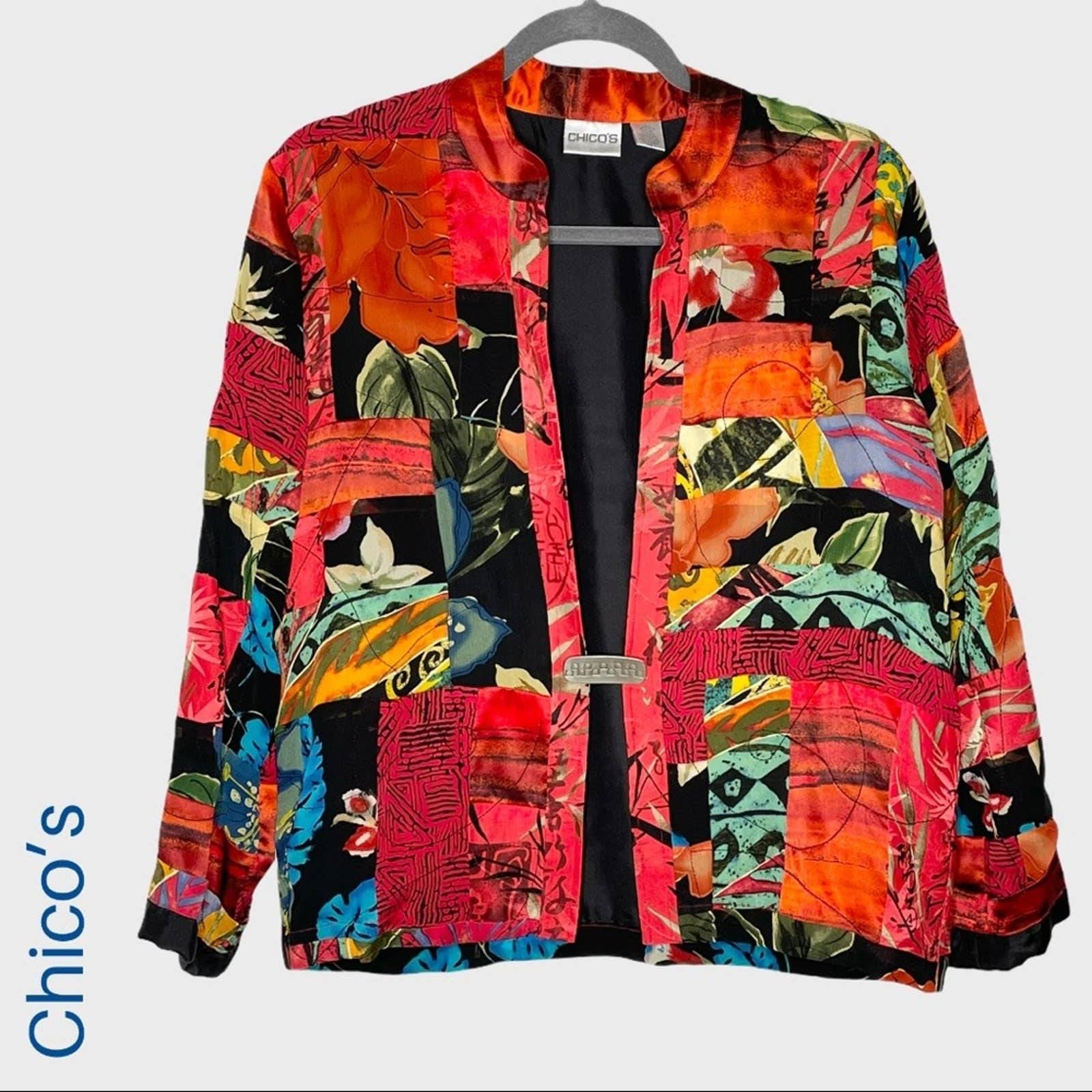Chico's multicolor patchwork silk blazer