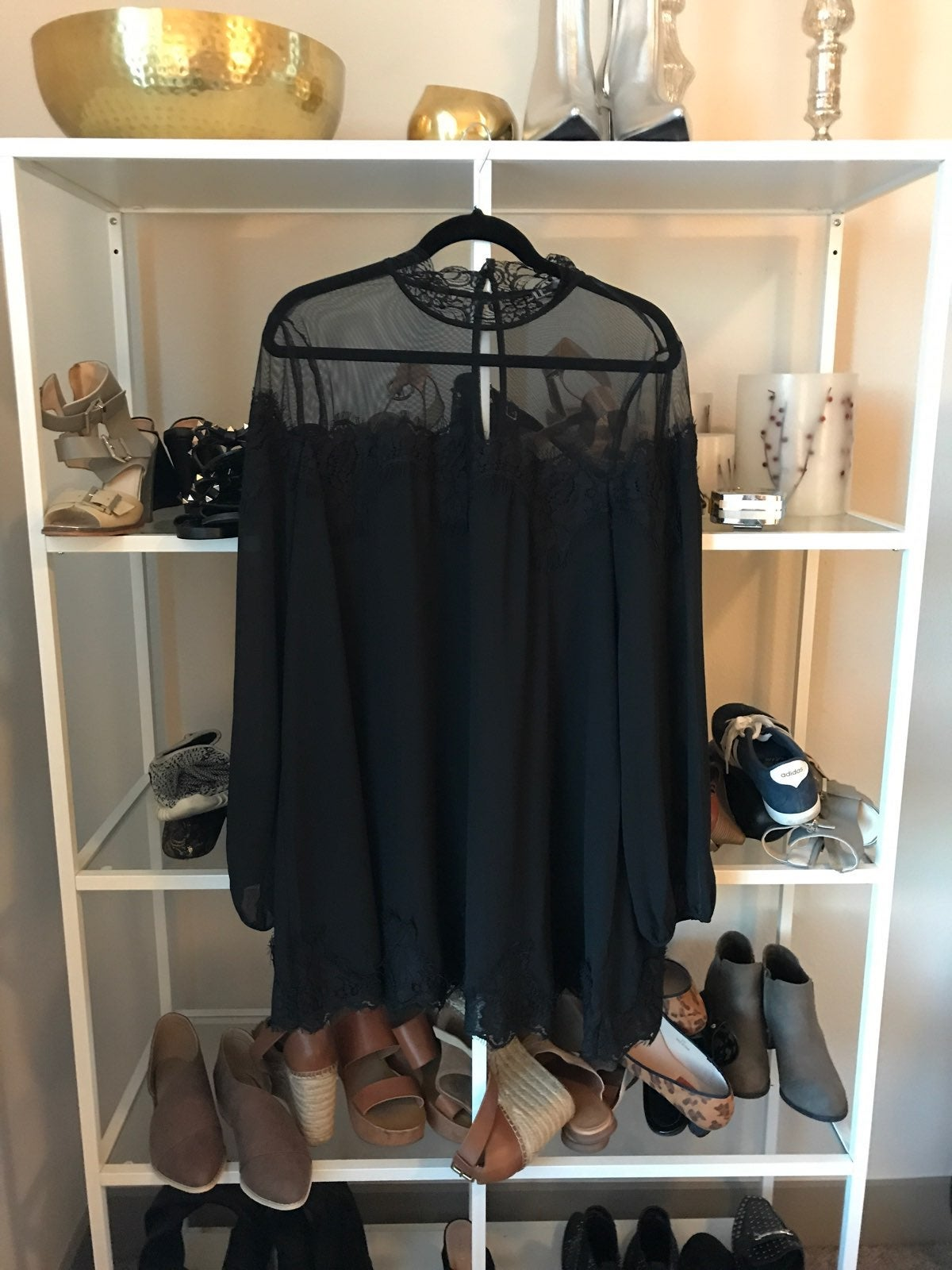XL Black Mesh Lace Babydoll Dress/Tunic
