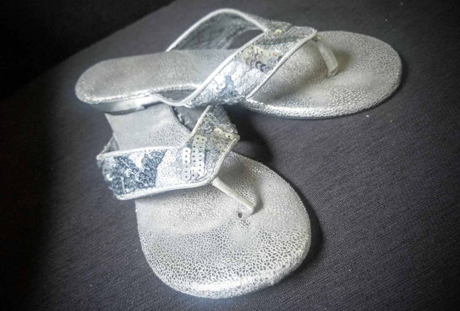 Metallic Silver Sequin Thong Sandals