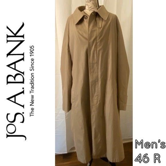 Jos A Banks Long Trench Coat Beige Tan