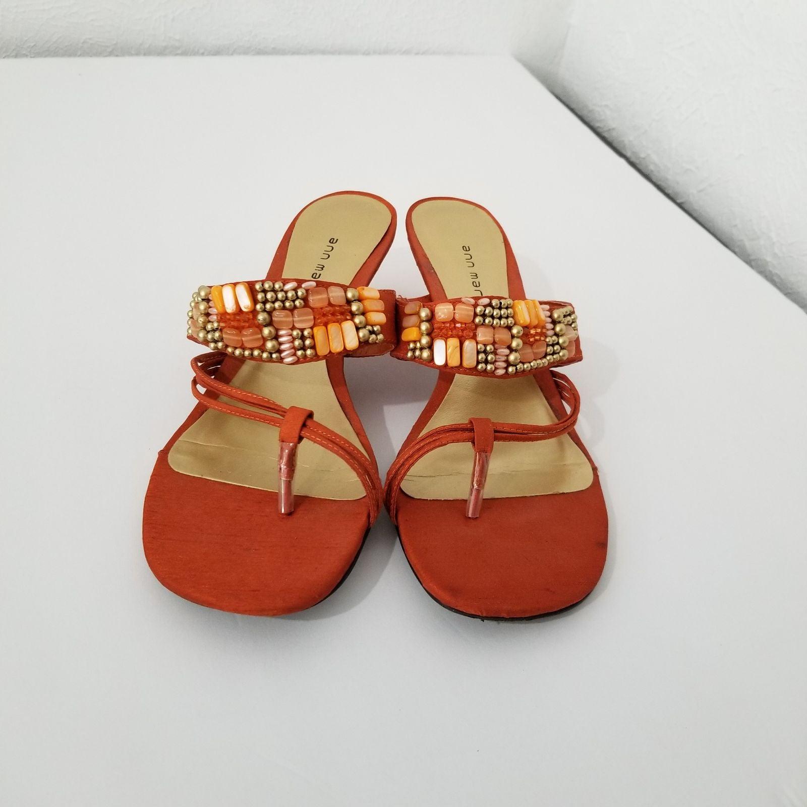 Ann Marino size 8.5 tangerine sandals