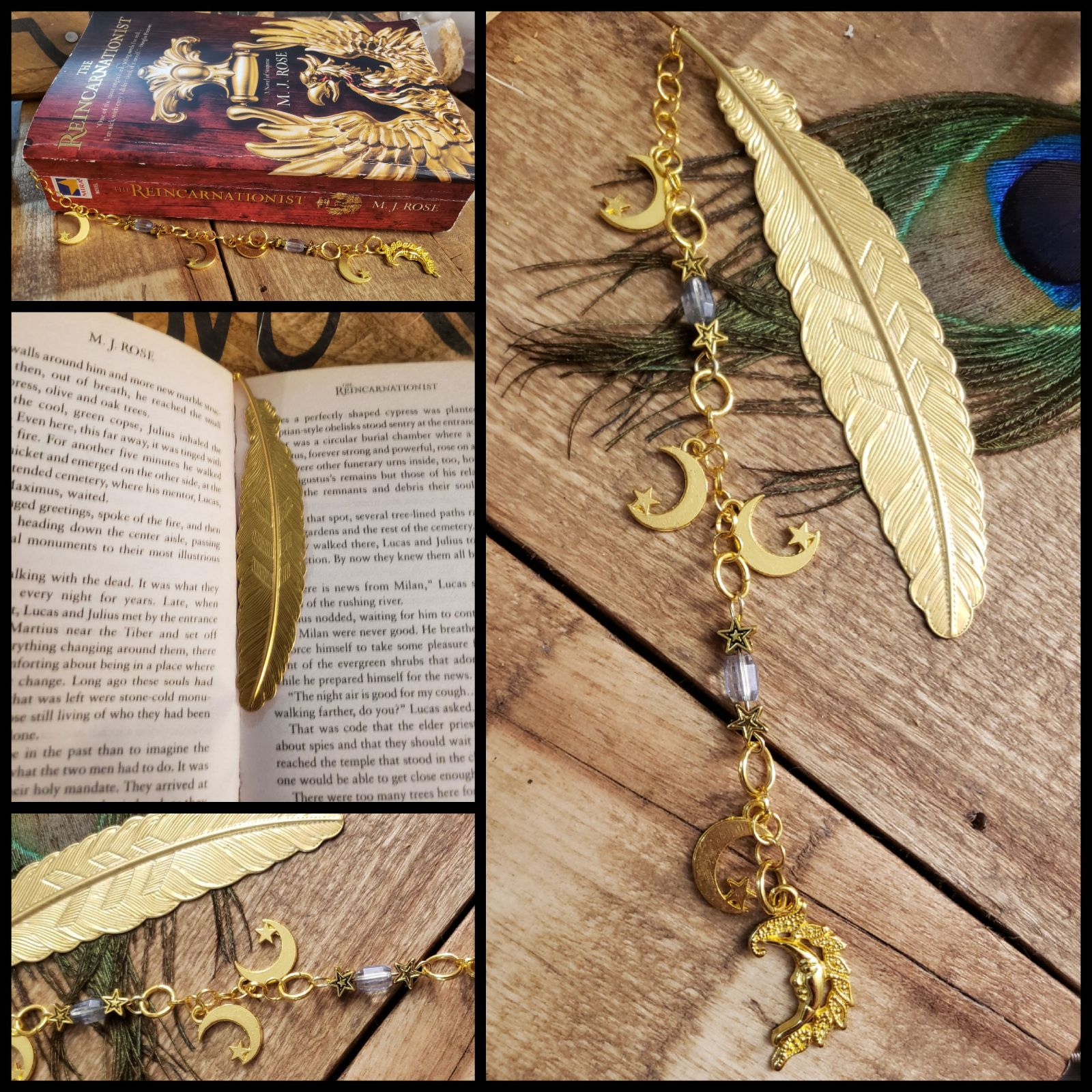 Crescent MOON & stars Feather Bookmark