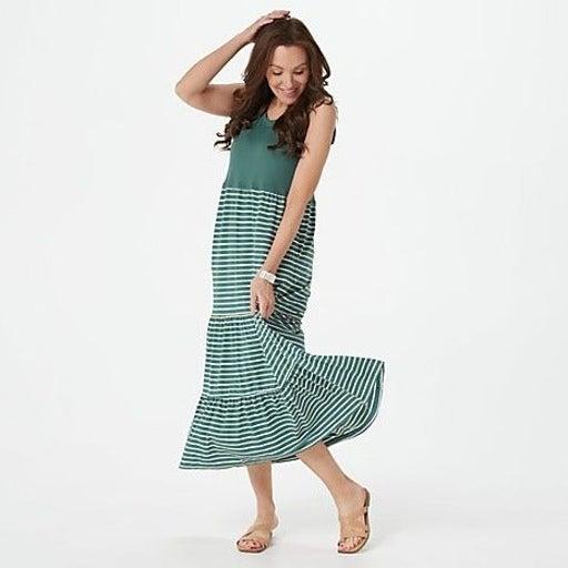 Cuddl Duds Tiered Maxi Dress Green PS