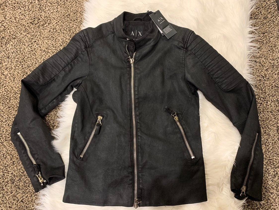 Armani black moto jacket small. NWT