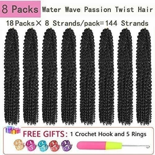 8 Pack Passion Twist hair extensions (1B