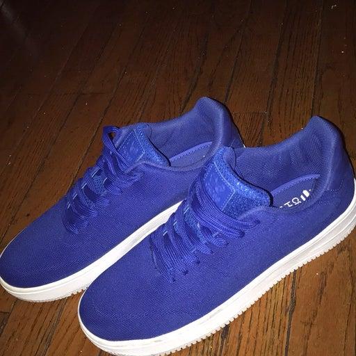Blue Crosshatch Sneakers