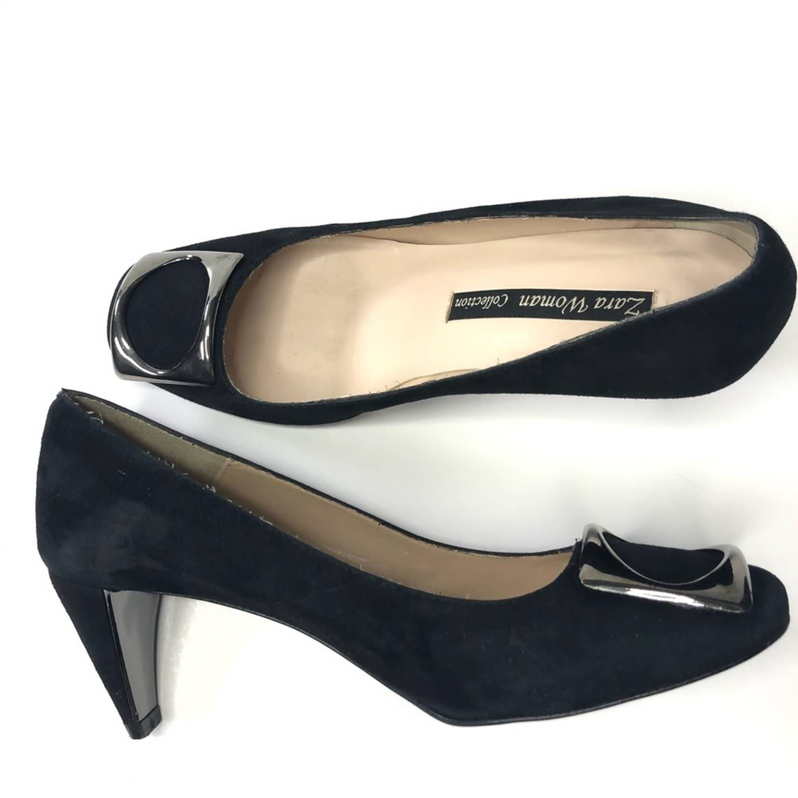 Zara Woman Collection black suede pumps