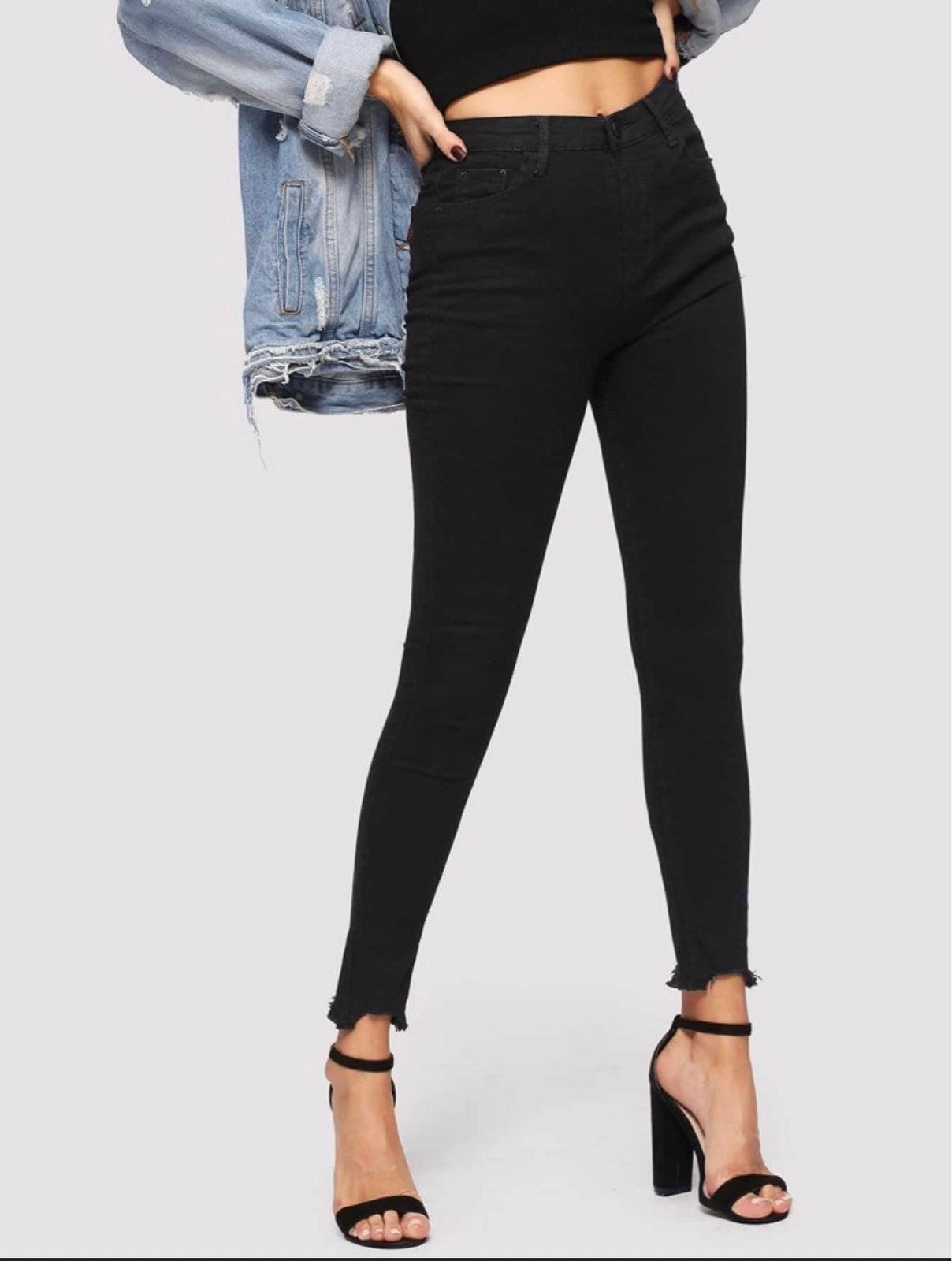 Plain Raw Hem Skinny Jeans